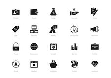 Set of black solid business icons isolated on light background. Contains such icons Statistics, Management, Deadline, Revenues, Portfolio and more Royalty Free Stock Photo