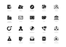 Set of black solid business icons isolated on light background stock illustration
