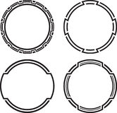 Set of 4 black solid templates for rubber stamps.  Stock Images