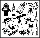 Set of black space icons Royalty Free Stock Images