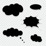 Set of black speech bubbles. Collection of comic bubbles Stock Photos