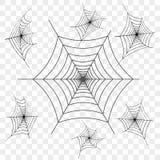 Set of black spider web on transparent background. Design element, icon. Vector. royalty free illustration