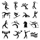 Set of black sport icons. Stock Photography