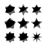 Set of black  stars, isolated icons Stock Images