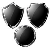Set of black steel shields Stock Photography