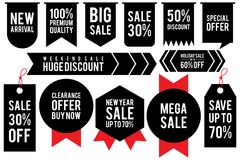 Set black sticker discount label templates with different percentages and red ribbon. Flat labels for advertising. Vector illustration EPS.8 EPS.10 stock illustration