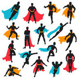 Set Of Black Superhero Silhouettes. In different poses with colored waving cloaks on white background isolated vector illustration vector illustration