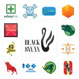 Set of black swan, horse, rhino, 100 year anniversary, bull, lux, 70 years, dino, placeholder icons. Set Of 13 simple  icons such as black swan, horse, rhino Stock Photos