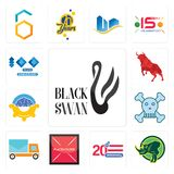Set of black swan, rhino, 20 anniversary, placeholder, post car, skull and crossbones, program management, bull, 100 year annivers. Set Of 13 simple  icons such Stock Images