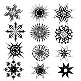 Set black for tattoo designs. Set of vector tattoos, fancy decoration and design elements, black and white Stock Images