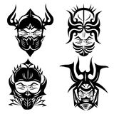 Set black for tattoo designs. Set of vector tattoos warriors head helmet, black and white Stock Photos