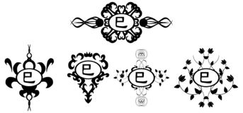 Set of black tattoo with ideogram snake isolated vector illustration