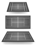 Set of black tennis courts with perspective Royalty Free Stock Photos