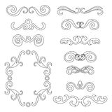 Set of black thin line abstract curly headers, design element set isolated on white background. Royalty Free Stock Photos