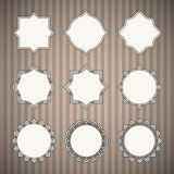 Set of Black Thin Line Vintage Frames with White Royalty Free Stock Photo