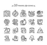 Set of Black Travel Icons on White Background. Set of black travel thin, lines, outline icons of summer vacation, tourism and journey. Items for travel in flat Royalty Free Stock Images