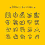 Set of Black Travel Icons on Yellow Background Stock Photography