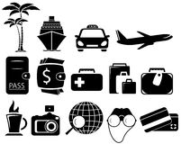 Set black travel objects. Isolated set with black objects for travel Stock Image