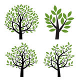 Set of black  tree with green leafs. Royalty Free Stock Photo