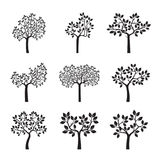 Set black Trees with Leaves and Roots. Vector Illustration stock illustration