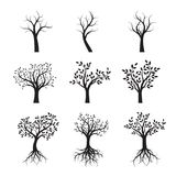 Set of Black Trees with Leaves and Roots. Vector Illustration. Set of Black Trees with Leaves and Roots. Vector Illustration and graphic Illustration Stock Photo