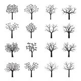 Set Black Trees with Leaves. Set of Black Trees with Leaves. Vector Illustration Royalty Free Stock Photo