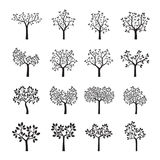 Set of black Trees with Leaves. Vector Illustration Stock Images