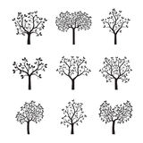 Set of black Trees with Leaves. Vector Illustration Royalty Free Stock Photo