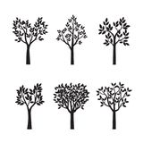 Set Black Trees with Leaves. Vector Illustration. Set Black Trees with Leaves. Vector Illustration and graphic element Stock Photo