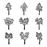 Set Black Trees with Leaves. Vector Illustration. Set Black Trees with Leaves. Vector Illustration and graphic elements Stock Images