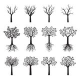 Set Black Trees with Leaves. Vector Illustration. Set of black Trees with Leaves and Roots. Vector Illustration stock illustration