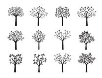 Set Black Trees with Leaves. Vector Illustration. Decorative elements Royalty Free Stock Photography