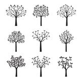 Set Black Trees with Leaves. Vector Illustration. Floral elements Stock Photo