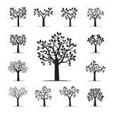 Set of black Trees with Leaves. Vector Illustration. Plants and garden Royalty Free Stock Photography