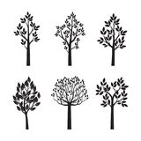 Set Black Trees with Leaves. Vector Illustration. Set black Trees with Leaves on white background. Vector Illustration and graphic element. Nature and garden Stock Photos