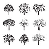 Set of Black Trees and Roots. Vector Illustration. Royalty Free Stock Photos