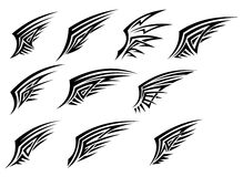 Set of black tribal wing tattoos Royalty Free Stock Photography
