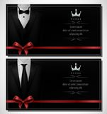 Set of Black tuxedo business card templates with men`s suits and place for text Stock Photo