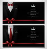 Set of black tuxedo business card templates with men`s suits and red tie Stock Photos