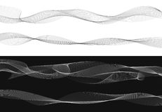 Set of black twist curved lines abstract wave isolated on white Stock Photography