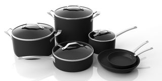 Set of black stainless steel cooking pots and frying pans isolated on white background. 3d illustration. Set of black various sizes cooking pots with glass lids vector illustration