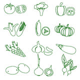 Set of black various vegetables outline icons Stock Photos
