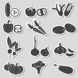 Set of black various vegetables stickers Royalty Free Stock Photos