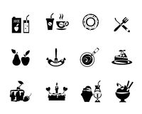 Set of black vector food icons Stock Image