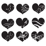 Set of black vector hearts with flourish. Hand drawn vintage Calligraphy lettering Vector illustration EPS10 Stock Image