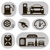 Set of black vector icons gas station. Set of black vector icons petrol station on a white background Royalty Free Stock Photo