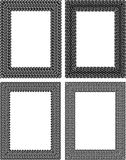 Set of 4 black vector rectangular frames in tire traces style Royalty Free Stock Image