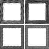 Set of 4 black vector square frames in tire traces style Stock Photos
