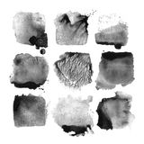 Set of black vector watercolor stain Royalty Free Stock Images