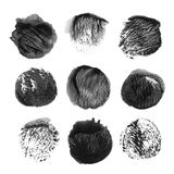 Set of black vector watercolor stain Stock Photos